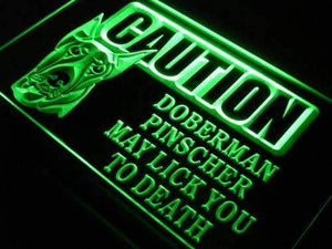 Caution Doberman Pinscher Neon Sign (LED)-Way Up Gifts