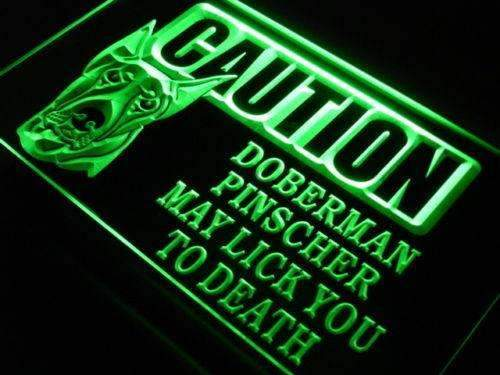 Caution Doberman Pinscher LED Neon Light Sign - Way Up Gifts