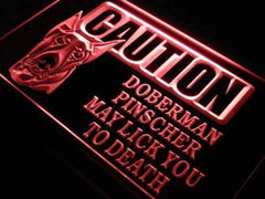 Caution Doberman Pinscher LED Neon Light Sign