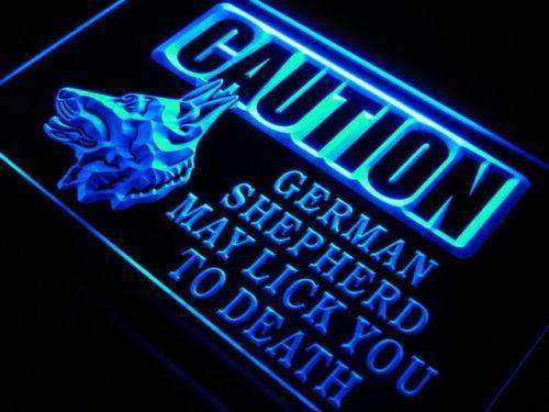 Caution German Shepherd LED Neon Light Sign - Way Up Gifts