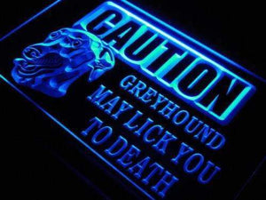 Caution Greyhound Neon Sign (LED)-Way Up Gifts