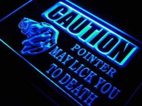 Caution Pointer Dog Neon Sign (LED)-Way Up Gifts