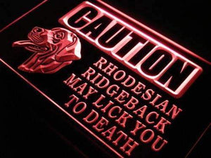 Caution Rhodesian Ridgeback Neon Sign (LED)-Way Up Gifts