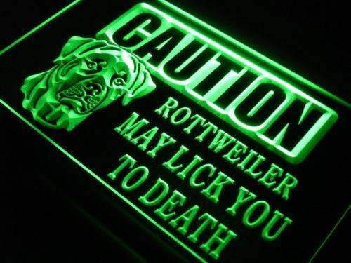 Caution Rottweiler Neon Sign (LED)-Way Up Gifts