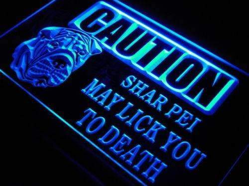 Caution Shar Pei LED Neon Light Sign - Way Up Gifts