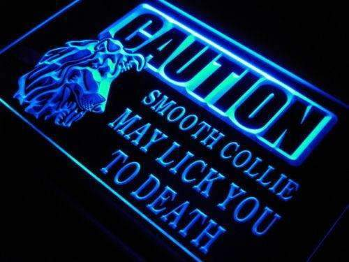 Caution Smooth Collie LED Neon Light Sign - Way Up Gifts