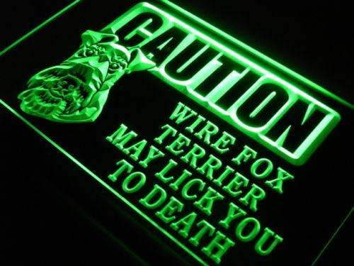 Caution Wire Fox Terrier LED Neon Light Sign  Business > LED Signs > Dog Neon Signs - Way Up Gifts