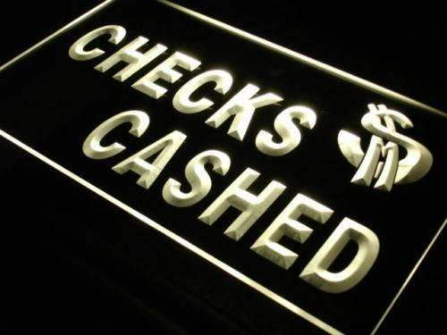 Checks Cashed Neon Sign (LED)-Way Up Gifts