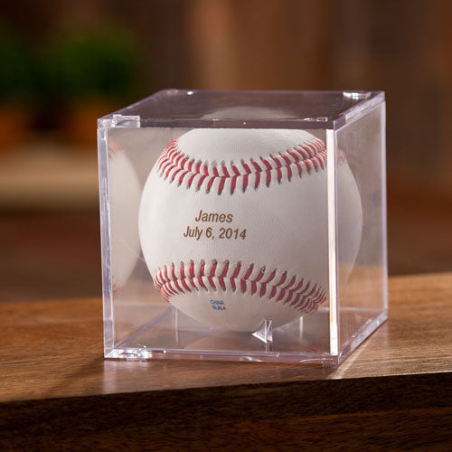 Personalized Classic Rawlings Leather Baseball and Acrylic Case - Way Up Gifts