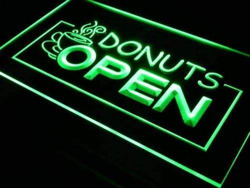 Coffee Donuts Open Neon Sign (LED)-Way Up Gifts
