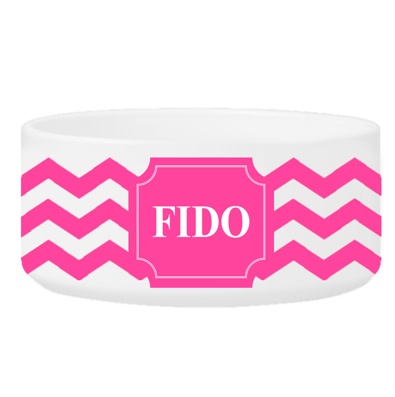 Personalized Classic Small Ceramic Dog Bowl - Cheerful Chevron - Way Up Gifts