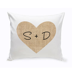 Personalized Couples Burlap Heart Throw Pillow