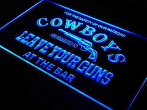 Cowboys Leave Guns Bar Neon Sign (LED)-Way Up Gifts