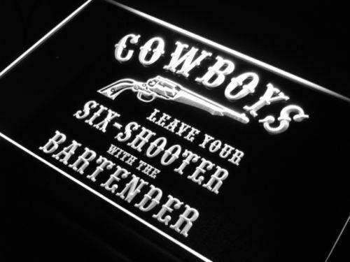 Cowboys Leave Six Shooter Bar Neon Sign (LED)-Way Up Gifts