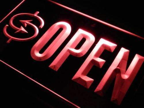 Currency Exchange Open Neon Sign (LED)-Way Up Gifts
