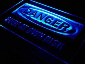 Danger Surf at Own Risk Beach Neon Sign (LED)-Way Up Gifts