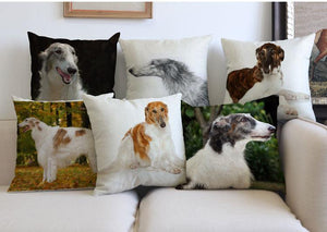 Decorative Borzoi Dog Couch Throw Pillow
