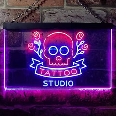 Skull Tattoo Studio LED Neon Light Sign