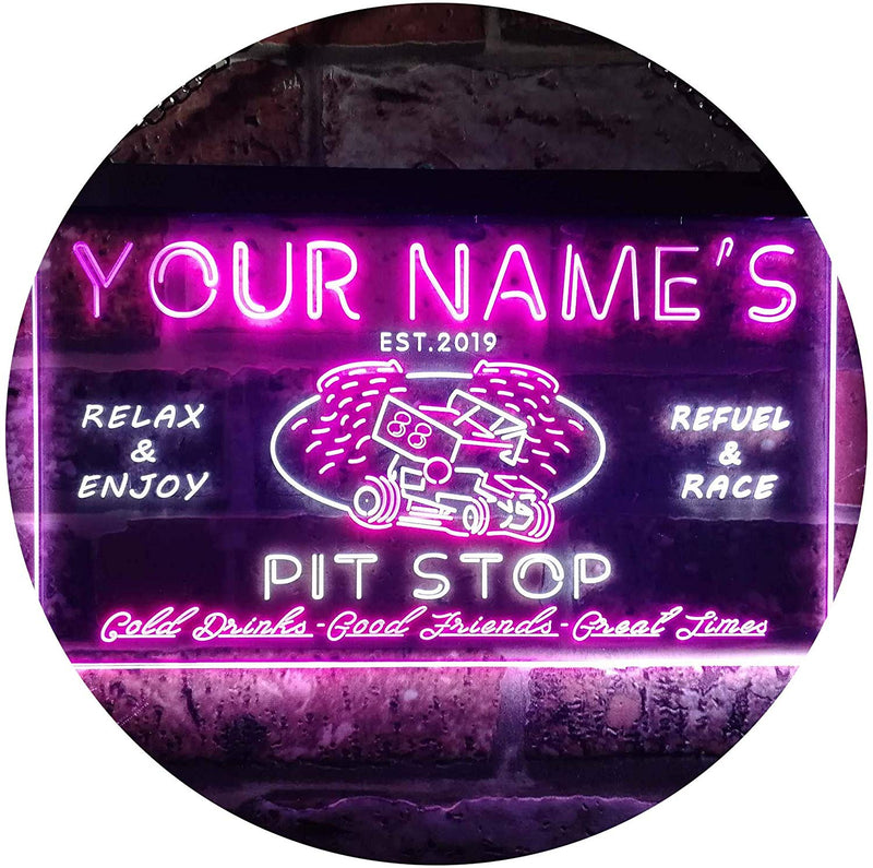 Personalized Racing Nascar Beer Pit Stop LED Neon Light Sign - Way Up Gifts