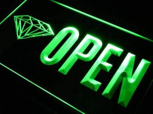 Diamonds Jewelry Shop Open Neon Sign (LED)-Way Up Gifts