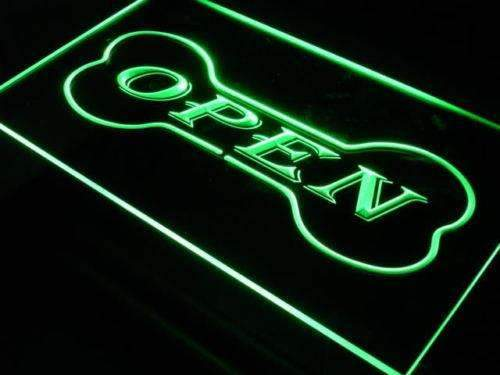 Dog Bone Pet Shop Open Neon Sign (LED)-Way Up Gifts