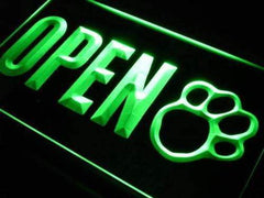 Dog Paw Print Grooming Shop Open LED Neon Light Sign