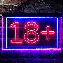 Adults Only 18+ LED Neon Light Sign