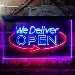 Open Delivery We Deliver LED Neon Light Sign