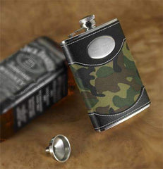 Engraved Green Army Flask