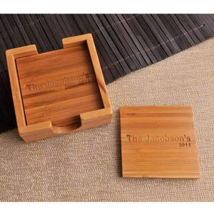 Engraved Bamboo Drink Coaster Set