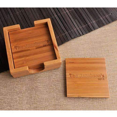 Engraved Bamboo Custom Drink Coasters