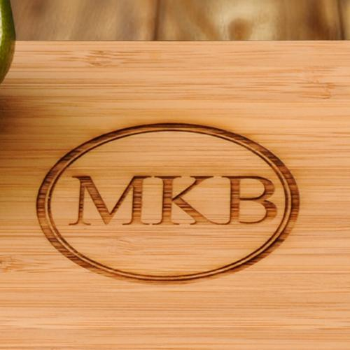 Engraved Small Bamboo Cutting Board w/ Two Shot Glasses