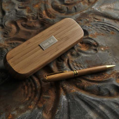 Engraved Bamboo Wood Pen Case w/ Pen