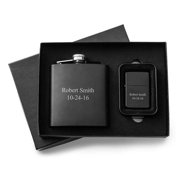 Engraved Black Flask & Lighter Gift Box