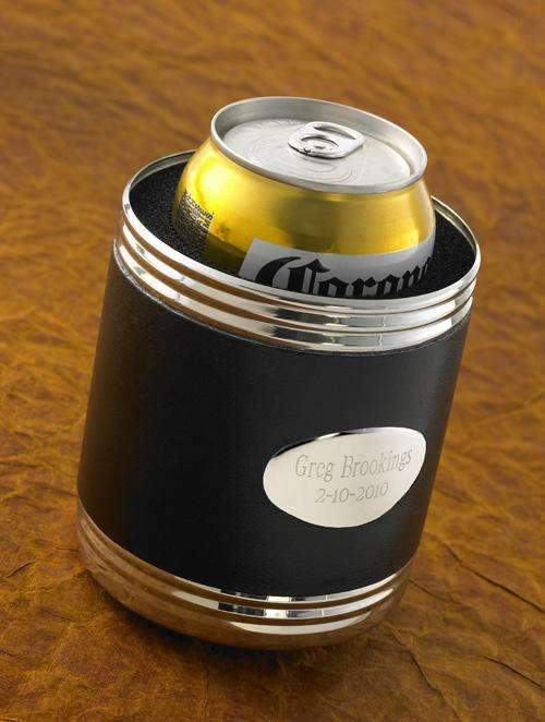 Engraved Black Leather Can Cooler