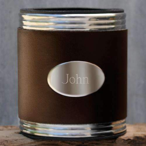 Engraved Brown Leather Can Holder