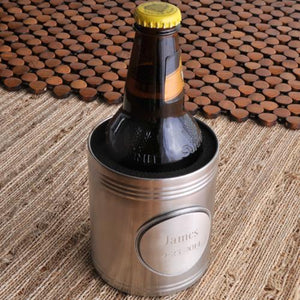 Engraved Can Cooler - Stainless Steel with Medallion