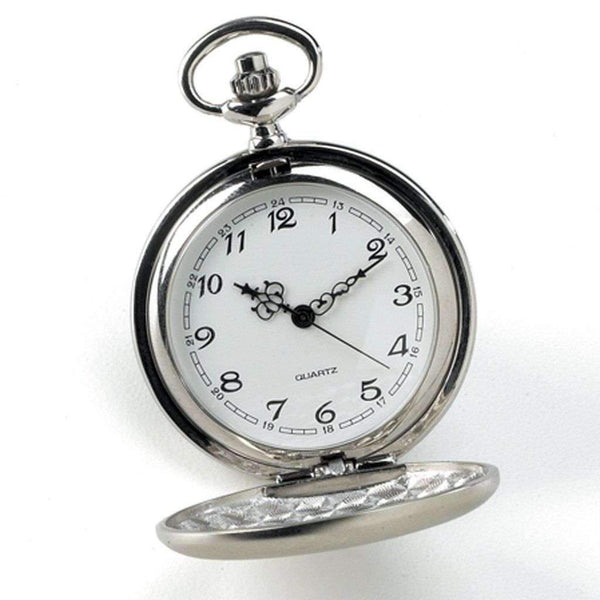 Engraved High Polish Silver Pocket Watch Keepsake
