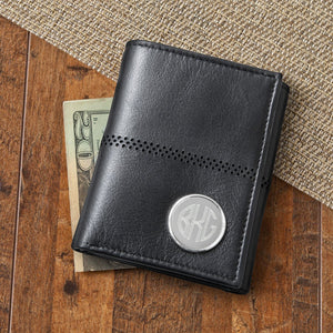 Engraved Mens Black Leather Trifold Wallet
