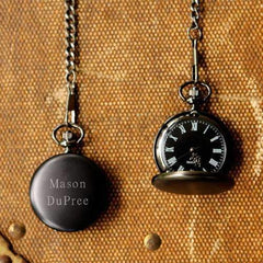 Personalized Midnight Black Pocket Watch Keepsake