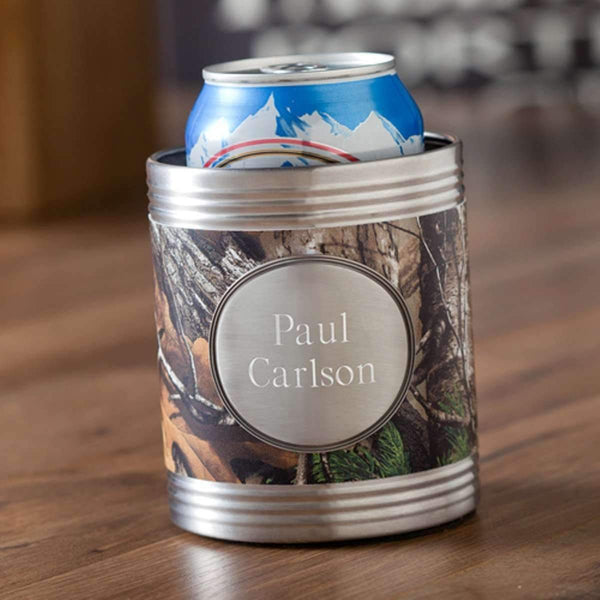Engraved Real Tree Can Cooler with Medallion