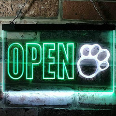 Open Paw Print Dog Grooming LED Neon Light Sign