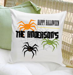 Personalized Spiders Happy Halloween Throw Pillow