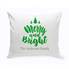 Personalized Merry & Bright Christmas Throw Pillow