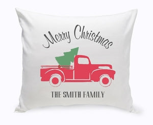 Personalized Red Christmas Truck Throw Pillow - Way Up Gifts