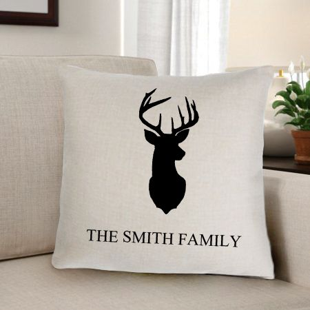 Personalized Deer Silhouette Throw Pillow - Way Up Gifts