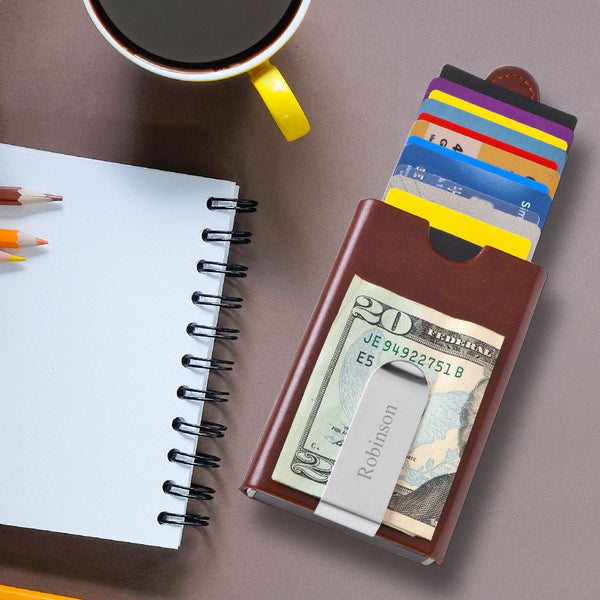 Personalized Modern Minimalist Wallet with Money Clip - Way Up Gifts