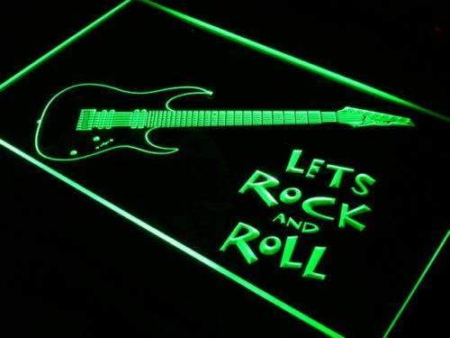 Guitar Let's Rock and Roll LED Neon Light Sign - Way Up Gifts