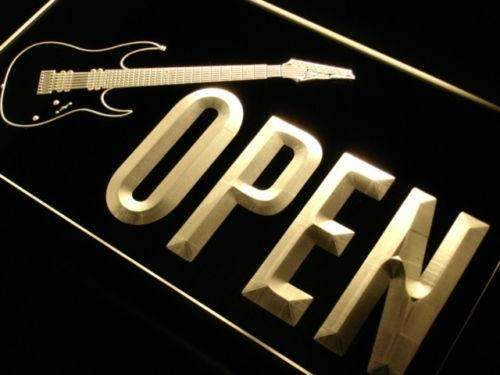 Guitar Shop Open LED Neon Light Sign - Way Up Gifts