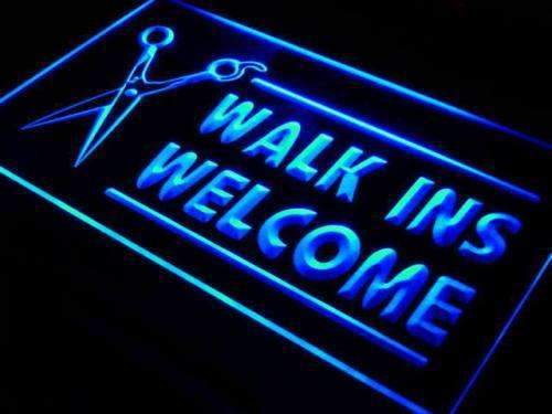 Hair Cut Walk Ins Welcome LED Neon Light Sign  Business > LED Signs > Barber & Salon Neon Signs - Way Up Gifts